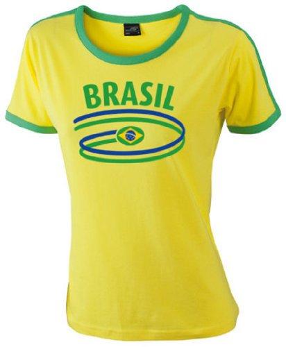 Brasilien Damen T-Shirt Ladies Flag Shirt Dynamic|S (Brasilien-flag Shirt)