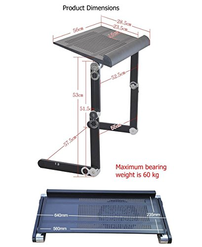 ergoneer height adjustable laptop stand with notebook clamps premium portable laptop tray w. Black Bedroom Furniture Sets. Home Design Ideas