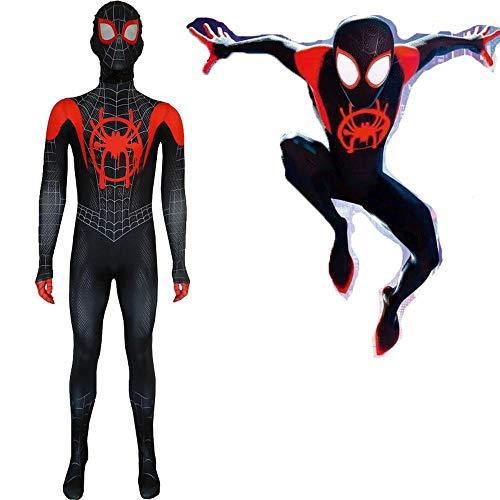 QAZ Erwachsene Kinder Spider-Man Kleine Schwarze Spinnenstrumpfhose Myers Cosplay Kostüm Parallel Universum New Era Halloween Kostüm Overall 3D Spiderman Costume,160cm