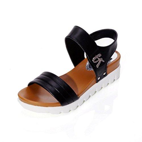 Sandalen mit Keilabsatz, FNKDOR Damen Comfort Offene Outdoor Schuhe (39, Schwarz)