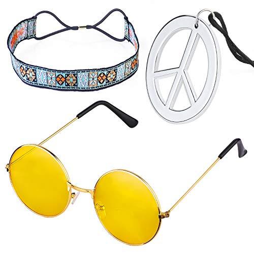 Beelittle Hippie-Kostüm Set - 60er Jahre Kreis Brille Friedenszeichen Halskette Hippie Stirnband 60er Jahre Party-Zubehör-Kit - Hippie Kostüm Für Jugendliche
