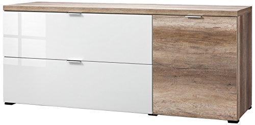 CS Schmalmöbel 45.150.505/027 TV-Board Cleo Typ 21, 163 x 50 x 67 cm, wildeiche / weißglas