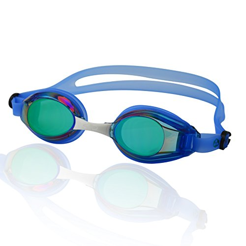 Occhialini da nuoto »Piranha«, 100% protezione raggi UV + anti-appannamento. Cinturino resistente in silicone + confezione rigida. QUALITÀ DELLE MIGLIORI MARCHE! AF-2100m, blu