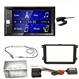 JVC KW-V250BT USB Autoradio Touchscreen Bluetooth Moniceiver DVD MP3 WMA Einbauset für Golf 5 6 Passat 3C CC B7 Touran