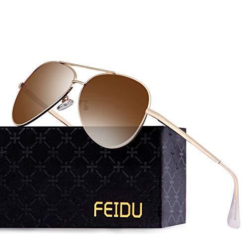FEIDU Polarisierte Pilotenbrillen Männer Metallrahmen Frauen FD9009 (Brown)