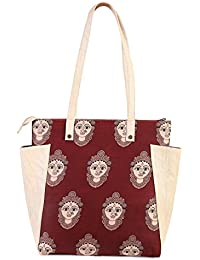 Women's Multi Coloured Tote Bag With Kalamkari Print And Two Side Pockets From Decorous