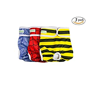 PHILODOGS Dog Diapers Washable Dog Wraps Reusable Doggie Belly Bands Absorbent Pet Puppy Diapers 3Pcs for Male Dogs Female Doggies