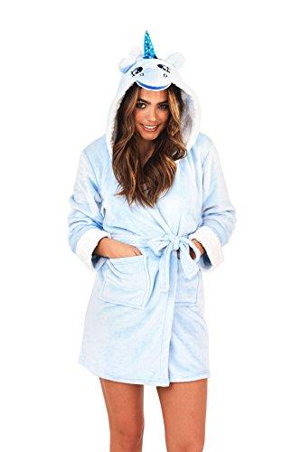 Loungeable, Damen Luxus Kaputze Neuheit Spaß Geschenk 3D Einhorn Robe, Blau, EU 44-46 (Robe Spa Braut)