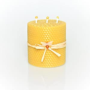 100% Reines Bienenwachskerze Größe 9 x 10 cm Ökologische kerzen Natürlichen Honigduft 100% Handarbeit Deco