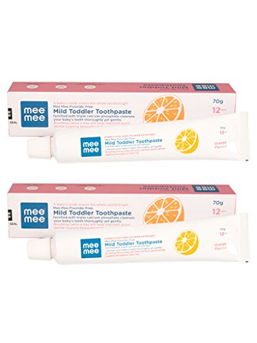 Mee Mee Fluoride-Free Orange Flavor Toothpaste, 70 g (Pack of 2)