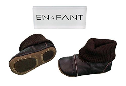 EN-FANT mixte chaussons chaussettes en cuir, marron chocolat, taille 18, 810170U-03 marron