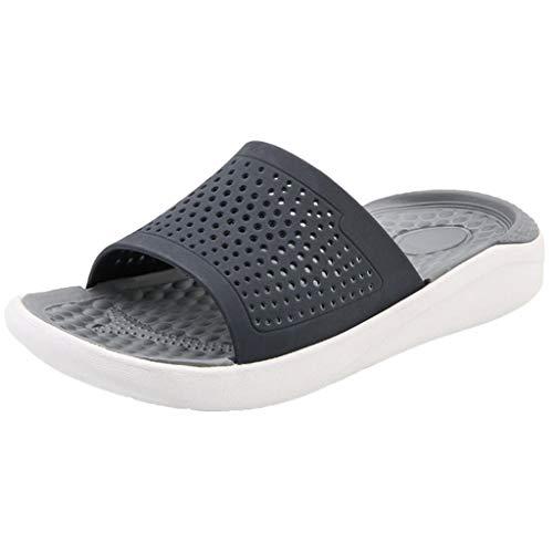 Ziyou Strand Sandals Aushöhlen Lässige atmungsaktive Hausschuhe Flats Schuhe(Grau,43 EU) (Schuhe Flats Coral Frauen)