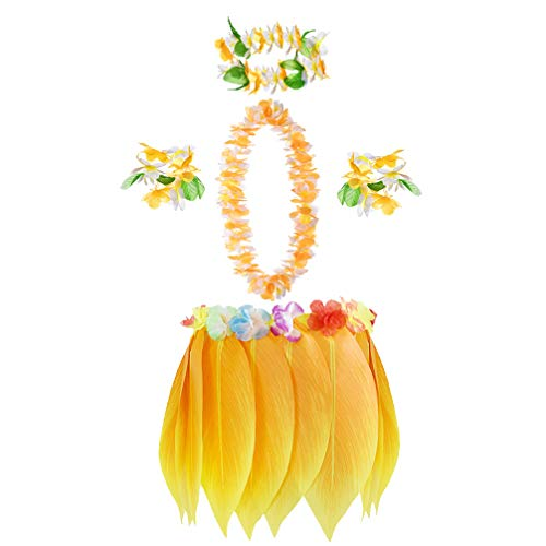 Der Gouverneur Kostüm - Amosfun gelb hawaiianischer Rock Set künstliche