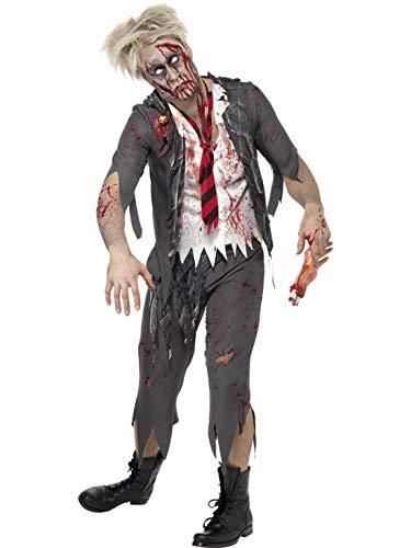 Kostüm High Boy School - Halloweenia - Herren Männer Kostüm blutiger Zombie High School Schuljunge Schüler mit Hose Jacke integriertem Hemd und Krawatte, Bloody School Boy, perfekt für Halloween Karneval und Fasching, L, Grau