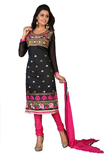 Khushali Women Chanderi Unstitched Salwar Suit (Black)  available at amazon for Rs.694