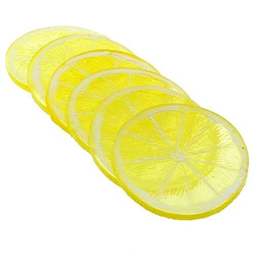 LACKINGONE 10 x lebensechte dekorative künstliche Zitronenscheiben aus Kunststoff für Zuhause, Deko, künstliche Früchte gelb