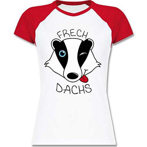 Statement Shirts - Frechdachs - zweifarbiges Baseballshirt / Raglan T-Shirt für Damen Weiß/Rot