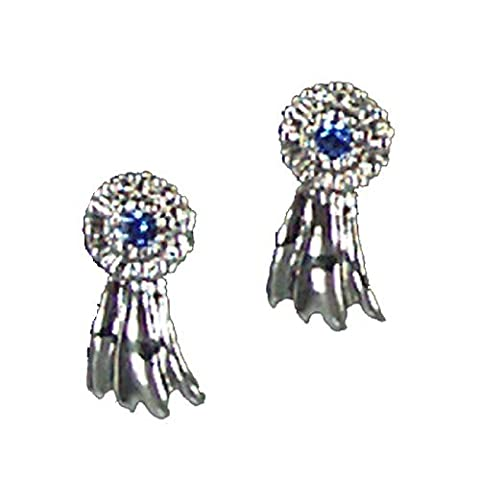 Exselle Platinum Plated Ribbon Earrings, Blue, Large by Exselle