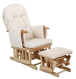 Deluxe Recliner Glider Nursing Nursery Feeding Chair & Stool - Cream
