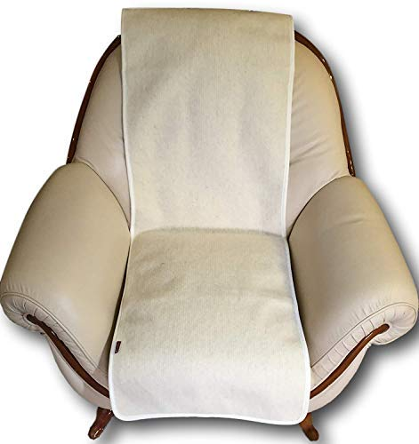 Sesselschoner Wellenoptik weiß 50x200cm Couchschoner Sesselauflage Sesselüberwurf Sitzauflage Überwurf 1 Stück, 100{c8df441ca3fdc2e9b89dc710fa8f0d632fea4ec784be1ec30682ce8e59758a08} Merinowolle