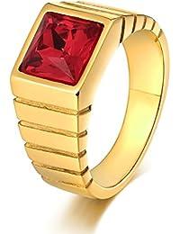 Aooaz Gioielli anello fascia anello acciaio uomo diamond-accentata Side Strip CZ anello gotico anelli fidanzamento anello biker