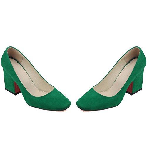 ENMAYER Femmes Nubuck Sexy Square Toe Bloc High Heel Confort Bureau de Travail Pompes Court Shoes Vert