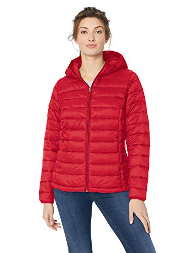 Amazon Essentials Lightweight Water-resistant Packable Hooded Puffer Jacket Mantel, Rot (red), US M (EU M - L) Rote Puffer