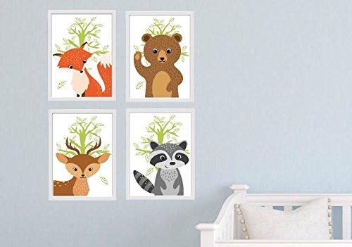Bild Set Waldtiere DIN A4 Tiere Wandbild K1-K4 Kinderzimmer Tier Bilder