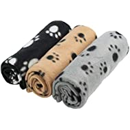 DIGIFLEX 3 x Large Dog Cat Pet Soft Fleece Blankets 70cm X 100cm
