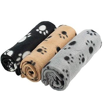 Digiflex - Grandes couvertures en Peluche Douces pour Chiens, Chats, Lapins et Autres Animaux de Compagnie - Une Bonne Addition au lit de Votre Animal, Multicolore, 3 unités, 70x100cm