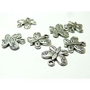10 pièces breloque pendentifs papillons vieil argent ref 2A2329