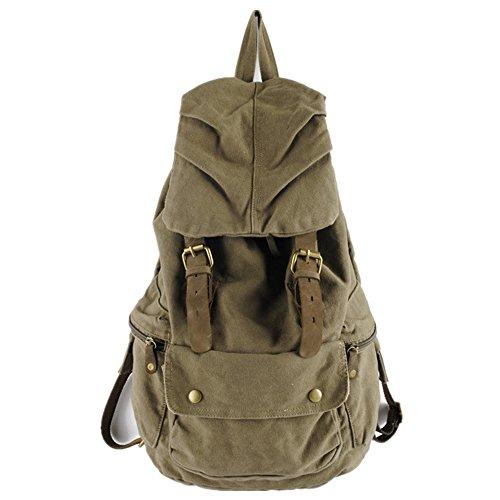 Neu Herren Damen Vintage Rucksack für Outdoor Sports Schultertasche Rucksack Rucksacktasche (khaki (grün))