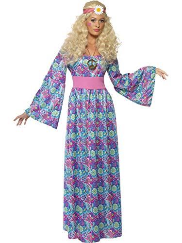 Blumenkind Kostüm Frauen - Luxuspiraten - Damen Frauen 60er Jahre Woodstock Blumenkind Kostüm mit langem Flower Power Hippie Kleid und Taillliengürtel, perfekt für Karneval, Fasching und Fastnacht, M, Flieder
