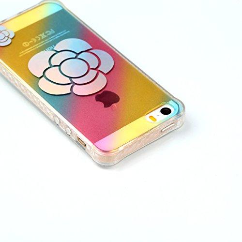 Custodia per iPhone 5S SE,SKYXD Lusso Luminosa Brillante Strass Pteris Rainbow Cover Trasparente Silicone Antiurto Case per Apple iPhone 5/5S iPhone SE con Brillantini Spina Della Polvere e Carino Sti Girasole