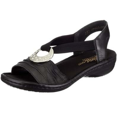 rieker damen 60823 offene sandalen mit keilabsatz schwarz 01 36 eu schuhe. Black Bedroom Furniture Sets. Home Design Ideas