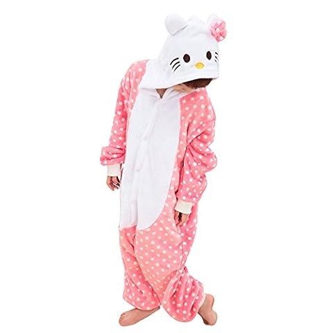 Happy Cherry Pyjama Ensemble Enfants Gaçons Filles Animaux Flanelle Combinaison Vêtements de Nuit Vivant Souple Hiver Cosplay Costume Noël Soirée Déguisement Cadeau HelloKitty Taille L