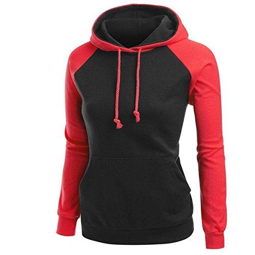 Nanxson(TM) Sweat-shirts À Capuche En Coton Automne Hiver Pour Femmes WYW0027 Rouge