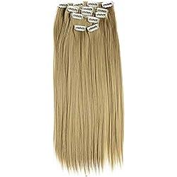 PRETTYSHOP XXL 8 pièces SET tête entière Clipser dans les extensions Extension de cheveux postiche résistant à la chaleur lisse 50cm blond foncé # 25 CES106