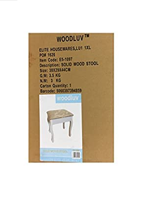 Woodluv Upholstered Wooden Dressing Table Cushion Padded Chair Stool - H42.5X W39.5 X L29.5 produced by Elite Housewares - quick delivery from UK.