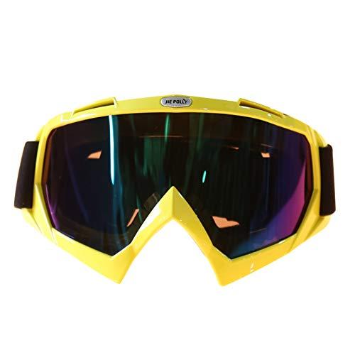 AmDxD PC Motorradbrillen Sportbrille für Motorrad Fahrrad Helmkompatible, Gelb Bunt