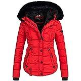 Marikoo Lotus Damen Jacke Steppjacke Winterjacke warm Parka gefüttert Gesteppt XS-XXL 6-Farben, Größe:L / 40;Farbe:Rot