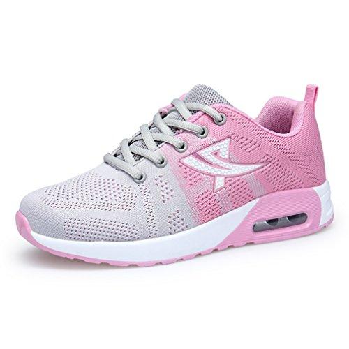 LFEU Femme Sneakers Sport Textile Basket Mode Compensé Bulle D'Air Sneakers Running Course Athlétique Fitness Formateur Légère
