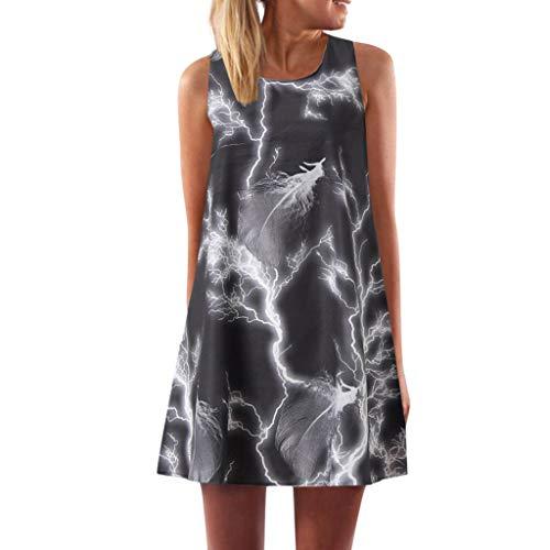 MAYOGO Sommerkleider Damen Casual Ärmellos T-Shirt Kleid Kurzen Blumenkleid Bedrucktes Strandkleider Sommer Minikleid (Blau Und Weiß Tie-dye Hoodie)