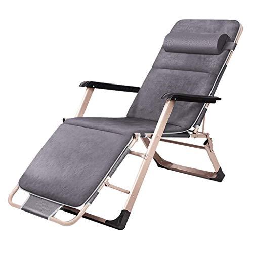 WJJJ Stuhl Verstellbarer Stuhl Klappstuhl Gartenstuhl Stuhl Mittagspause Stuhl Lazy Chair Liegestuhl Höhenverstellbarer Stuhl Multifunktions (Farbe: GRAU, Größe: Stuhl + Kissen)