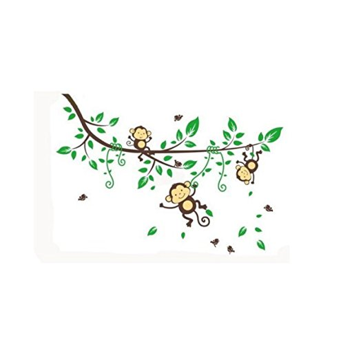 WallStickers Decal Three Monkey climb on the vine wall sticker for kids