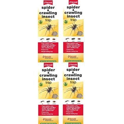 4 x Rentokil Pack De 3 Araignée & Rampant Insecte Beetle Fourmis Cannelure unique Piège(1)