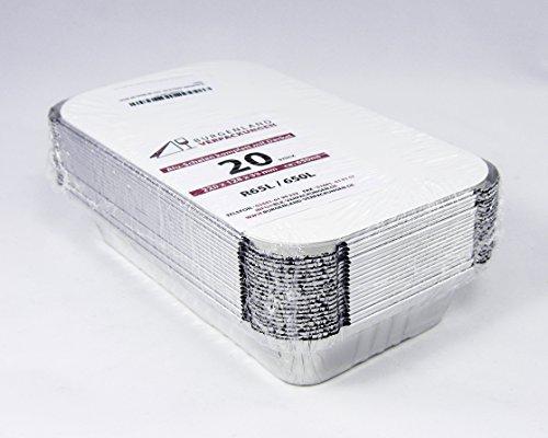 20 Aluschalen eckig mit Deckel | R65L | 650 ml | 220 x 128 x 33 mm | Aluschale | Alu-Schale | ungeteilt | Menüschalen | Lunchbox | Assietten | Leberkäseform | Menüteller | Alubehälter | Aluminiumschalen | Tropfschale | Lasagneform