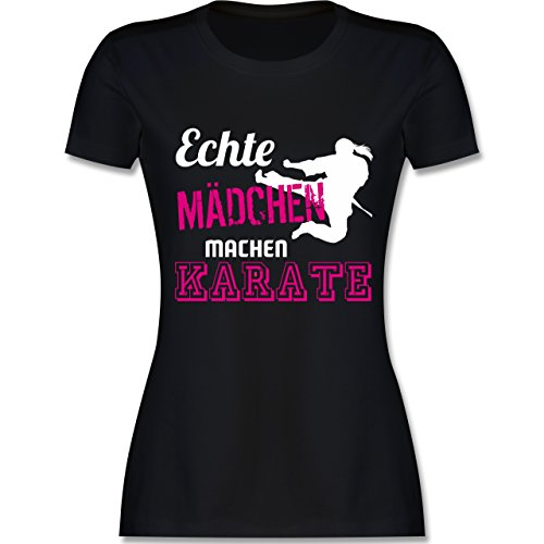 Kampfsport - Echte Mädchen Machen Karate - S - Schwarz - L191 - Damen T-Shirt Rundhals