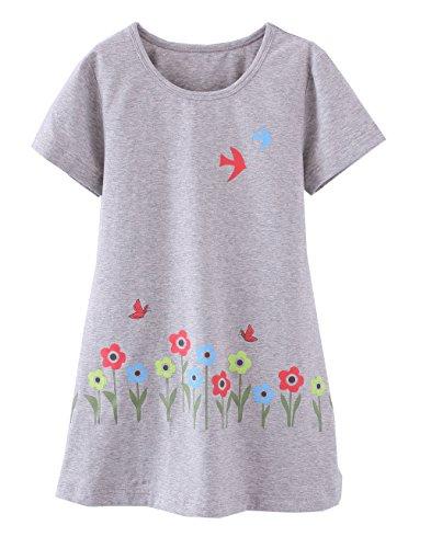 Mädchen Sonnenblume Pyjamas PJS Shortie Kleid Langes Hemd 7-8 Jahre Grau (Produkte Sonnenblume)