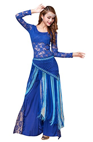 YiJee Damen Bauchtanz Kostüm Tops Spitzen Indischer Tanz Hose Bauchtanz Hüfttuch Blau (Indische Kostüme Halloween Für Frauen)